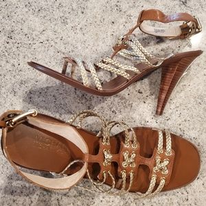 Michael by Michael Kors Gold Braided Heel Sandals
